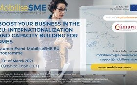 """WEBINAR: """"Incrementa le tue attività commerciali in Europa: internazionalizzazione e sviluppo di capacità per le PMI"""""""